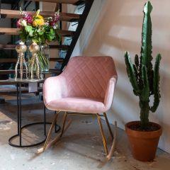 Schommelstoel Rien velours - roze