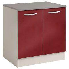 Meuble bas Spott 80 cm avec 2 portes - glossy red