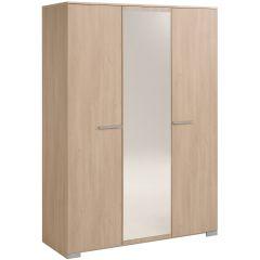 Armoire Eggo 140cm avec 3 portes & miroir - brun