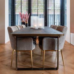 Eettafel Gunther 230x95cm - zwart/goud