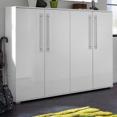 Schoenenkast Timo 160cm met 4 deuren - wit