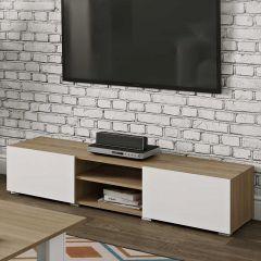 Tv-meubel Podium 140 cm - eik/wit