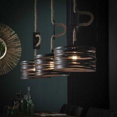 Hanglamp 3xØ30 twist verstelbaar touw - Slate grey