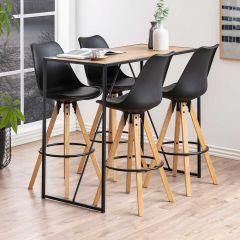 Table de bar Dover 120x60 industriel - noir/chêne sauvage