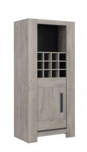Buffetkast Bosy met wijnrek & deur - lichtgrijze eik