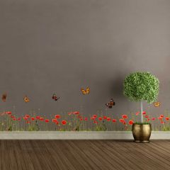 Muurstickers Poppies & Butterflies - sierrand