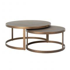 Lot de 2 tables basses Orlando - chagrin/or