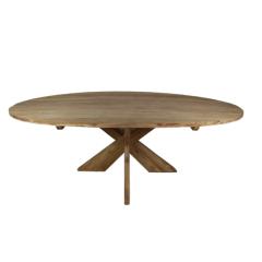 Ovale eettafel Mosy met kruispoot - 240x120 cm - blank - teak
