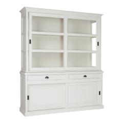 Armoire vitrée Oakdale 186cm avec 4 portes et 2 tiroirs - blanc