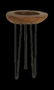 Table d'appoint - cire naturelle / noir - teck