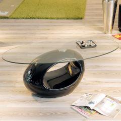 Table basse Pucci avec plateau en verre - noir