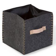 Vilten vierkante mand 28x28x27 - antraciet/goud