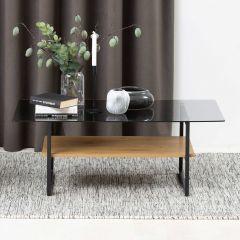 Table basse Yanna 110x60 avec plateau en verre - chêne sauvage/noir