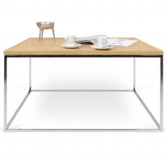 Salontafel Gleam 75x75 - eik/chroom
