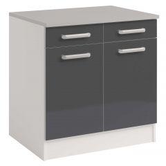 Onderkast Glossy Grey 80 cm - 2 deuren en 2 lades