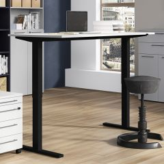 Zit-sta bureau Osmond 160cm elektrisch verstelbaar - lichtgrijs/zwart