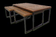 Set de table basse Bradley - bois / fer Java recyclé - ensemble de 3
