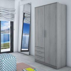 Armoire Ramos 80cm avec 2 portes & 3 tiroirs - frêne gris