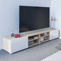 Tv-meubel Podium 185 cm met 2 deuren - eik/wit