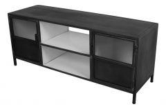 TV meubel Bronx - ijzer - donkergrijs / wit