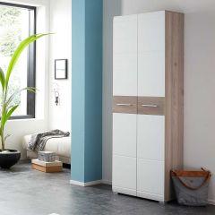 Garderobekast Molde 59 cm met 2 deuren - wit/eik