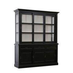 Vaisselier Provence 180cm à 6 portes & 3 tiroirs - noir/blanc