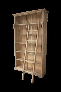 Boekenkast met trap - blank - teak