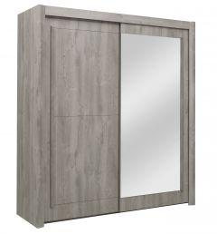 Kledingkast Hayden 201 cm 2 schuifdeuren & spiegel - lichtgrijze eik