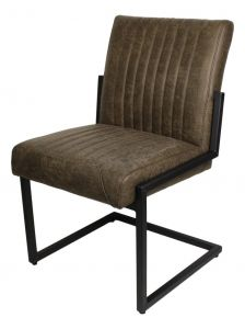 Set de 2 chaises Texas - yacht-cuir / métal - vert armée