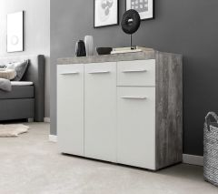 Bahut Tristan 3 portes & 1 tiroir - blanc/béton