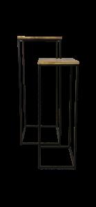 Plantenstandaard - mangohout / ijzer - set van 2