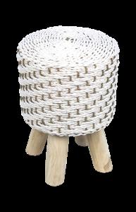 Kruk Mailbu - ø31 cm - raffia - wit