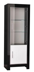 Vitrine Modena 2 portes - blanc/noir