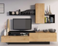 Meuble tv Cosmit 240cm - chêne/noir