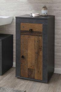Badkamerkastje Rutger 1 lade & 1 deur - hout/grafiet