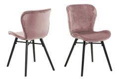 Set van 2 fluwelen stoelen Tilda met schuine poten - oudroze/zwart