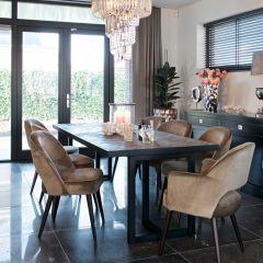 Eettafel Herringbone 200x100 - eik/zwart