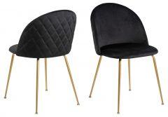 Set de 2 chaises Isa - noir/cuivre