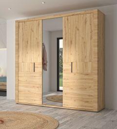 Armoire Attitude 220cm avec 3 portes & miroir - chêne