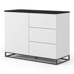 Dressoir Join 120cm met metalen onderstel, 1 deur en 3 laden - mat wit/zwart marmer