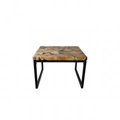 Salontafel - 70x70 cm - zwart resin - teak / ijzer