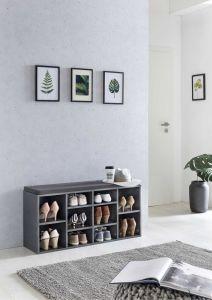 Etagère à chaussures avec coussin Guillaume - gris graphite