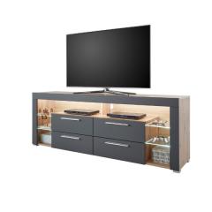 Tv-meubel Gazza 179cm met 4 lades - grijs/eik