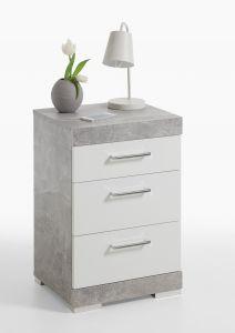 Table de chevet Cristal  tiroirs - béton/blanc brillant