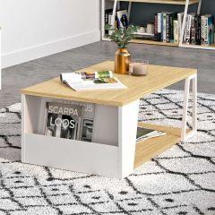 table basse Albi 110cm - chêne/blanc