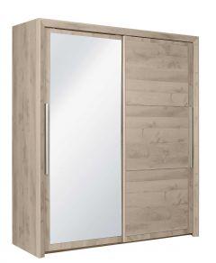 Kledingkast Raltas 191cm met 2 schuifdeuren & spiegel - eik