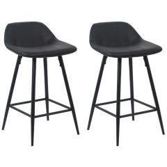 Jeu de 2 chaises de bar Steady 4 pieds - noir