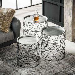 Table d'appoint serié de 3 en acier peint poudre noire avec plateau amovible nickelé - nickel noir