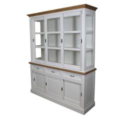 Vaisselier Provence 180cm à 6 portes & 3 tiroirs - blanc/chêne