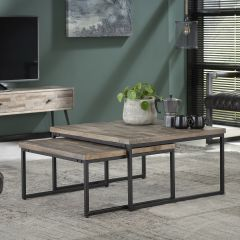 Set van 2 salontafels Teca 75x75 industrieel - teak